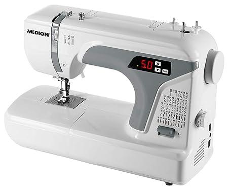 Medion MD 16661 - Máquina de coser digital, ojal automático, 40 vatios, pantalla LED, 50 patrones de puntada diferentes, luz de costura LED, ...