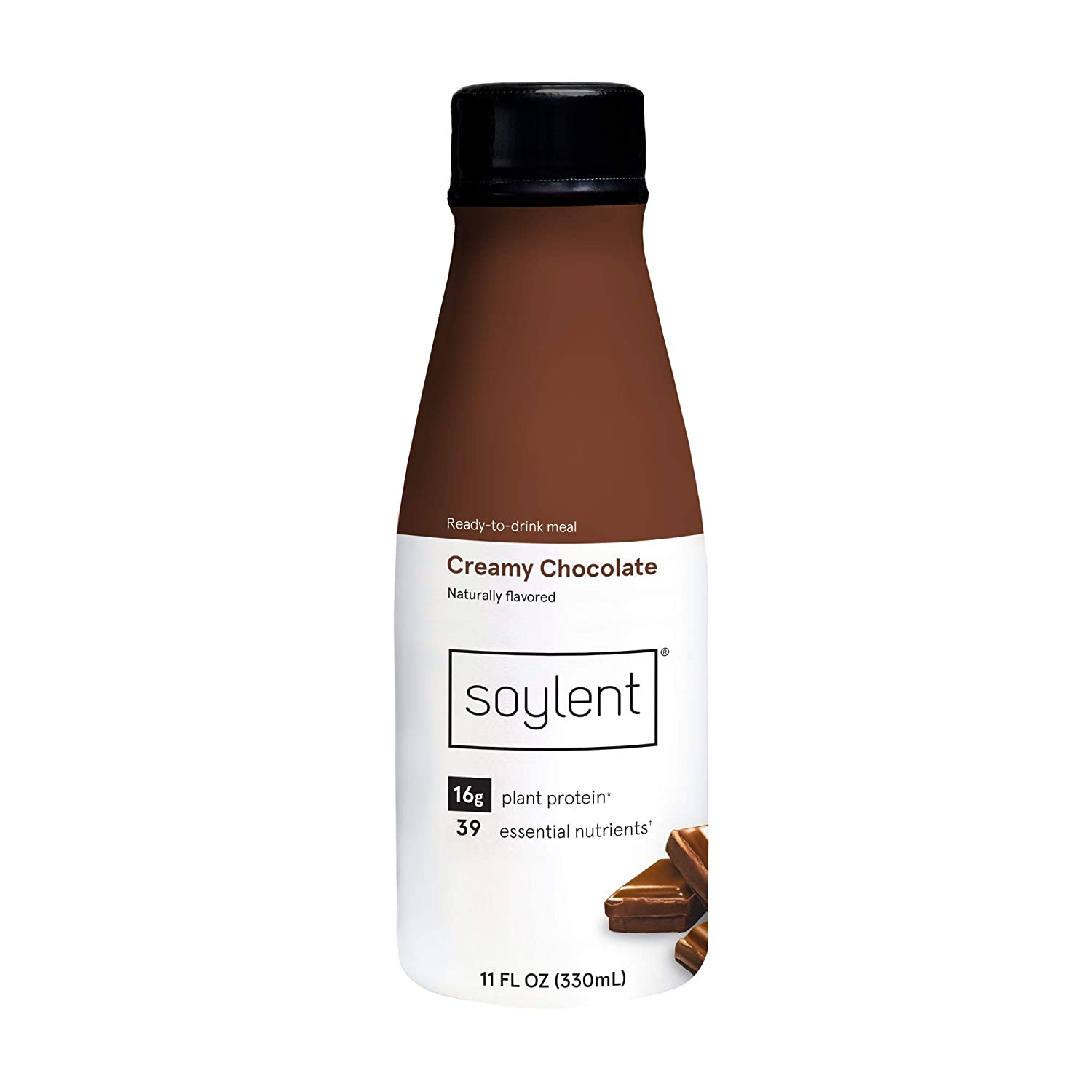 Soylent Creamy Chocolate/Cacao Plant Protein Meal Replacement Shake, 11 Fl Oz, 4 Bottles - Packaging and Flavor May Vary