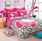 Hello Kitty 3 Piece Bed In A Bag Heart White Bedding Set Girl BedClothes Duvet Comforter Cover Set Full