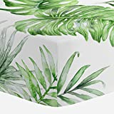Carousel Designs Green Painted Tropical Crib Sheet - Organic 100% Cotton Fitted Crib Sheet - Made in The USA