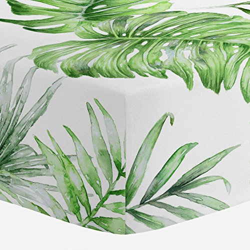 Carousel Designs Green Painted Tropical Crib Sheet - Organic 100% Cotton Fitted Crib Sheet - Made in the (Antique Baby Bedding)