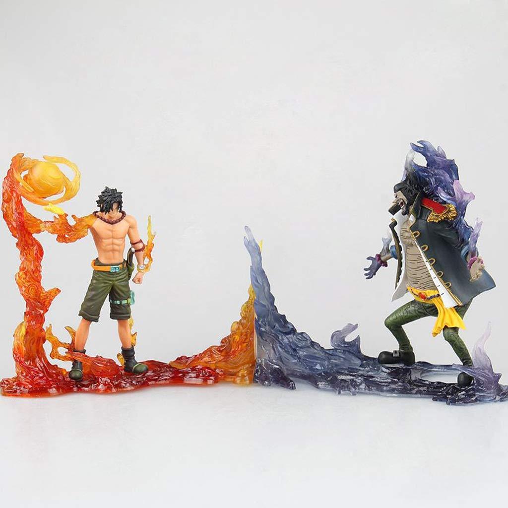 YIFNJCG One Piece/Rey náutico Modelo de Personaje Yandi vs. Barba Negra Escena de Batalla de Agua Oscura Estatua Regalo Recuerdos Artesanía Decoración de Regalos navideños (14 CM)