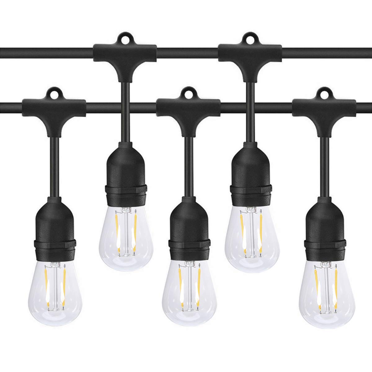 Ecowho Outdoor String Lights Led String Lights Indoor Waterproof Led Patio String Lights With 9 Hanging E26 Sockets Ul Listed For Yard Bistro Pergola