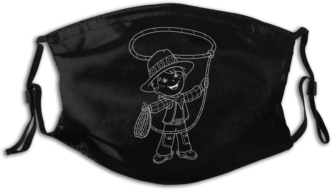 Lazo de Vaquero de Dibujos Animados. Protector de Boca Personalizado para niños con Filtro Protector de Boca Reutilizable Lavable Antipolvo Unisex S