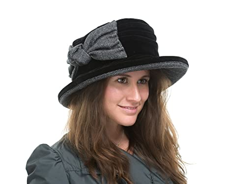 1add1d98f69 Image Unavailable. Image not available for. Colour  Ladies Casual Black  Velvet Hat ...