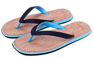 6e21b7fea40a Men s Flax Flip Flops Arch Support Sandals Cotton Strap Non-Slip Thong  Slippers(Blue