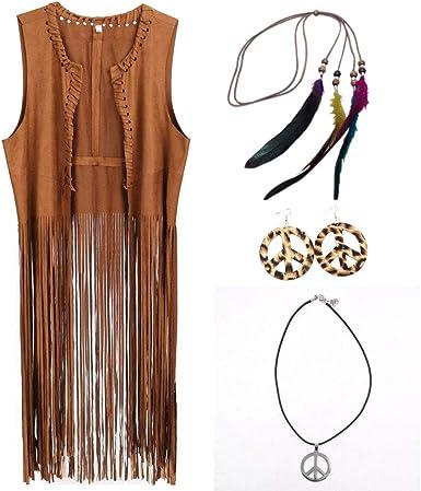 importante triple esquina  Amazon.com: GRACIN - Chaleco de disfraz hippie para mujer, suave ante  sintético de los años 60 y 70: Clothing