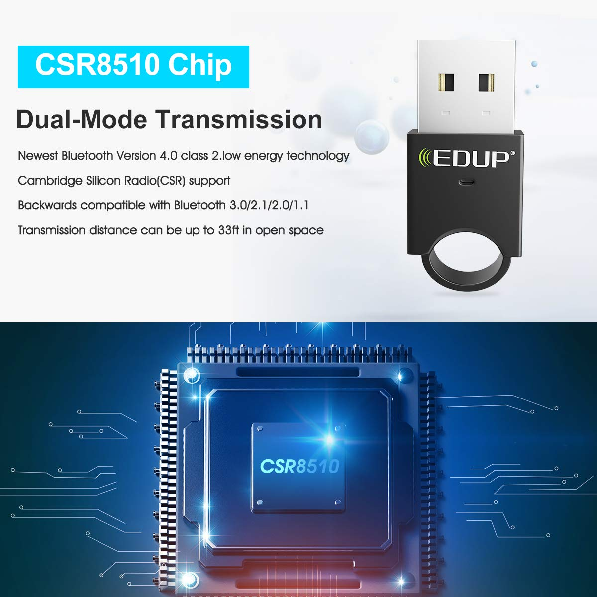 EDUP Bluetooth USB Adapter CSR 4.0 Bluetooth Dongle Receiver Wireless Transfer for Stereo Headset Music, Keyboards, Mouse, Gamepads, Speakers, Supports Windows 10/8.1/8/7/XP/Vista