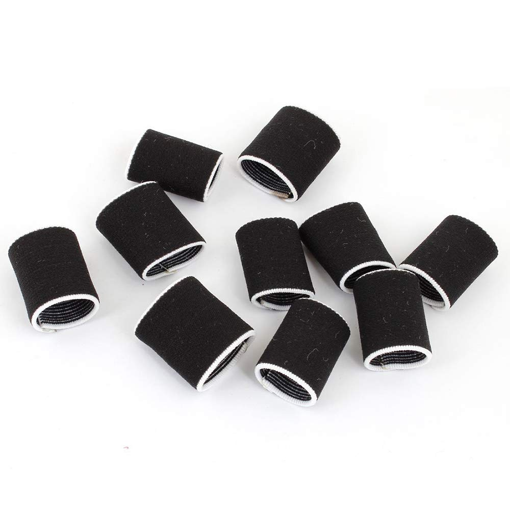 Xeminor Elastic Finger Sleeve Cover Nylon Finger Protector Sleeve Support Stretchy Protection Gloves Finger Guard for Playing Sports Volleyball 10 Pcs White Edge Black
