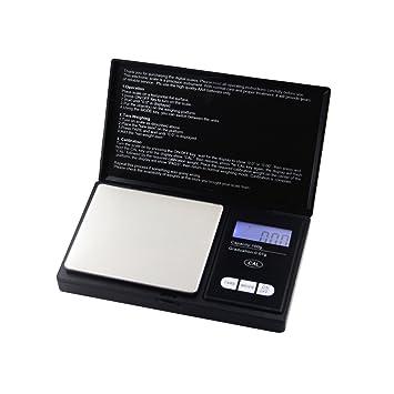 HiPPiH 100 G/0,01 G báscula Digital de bolsillo para joyería y cocina con acero inoxidable azul pantalla LCD retroiluminada: Amazon.es: Hogar