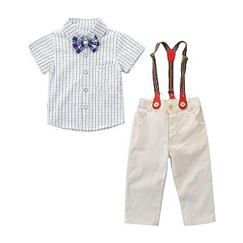 Baiomawzh Counjunto de Ropa Bebé Niño Verano Camisa a Cuadros Mangas ...