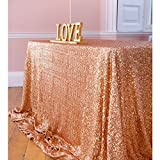 Sequin Table Clothes 50x102 inch Rose Gold Sequin Tablecloth Sequin Overlay Sparkle Table Decor for Wedding