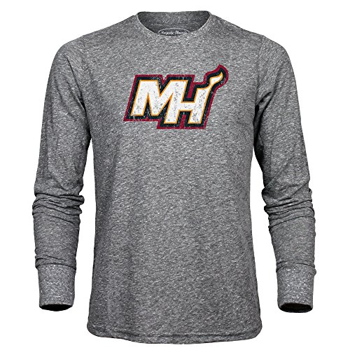 (Majestic Athletic NBA Miami Heat Men's Premium Triblend Long Sleeve Tee, Heather Grey, X-Large)