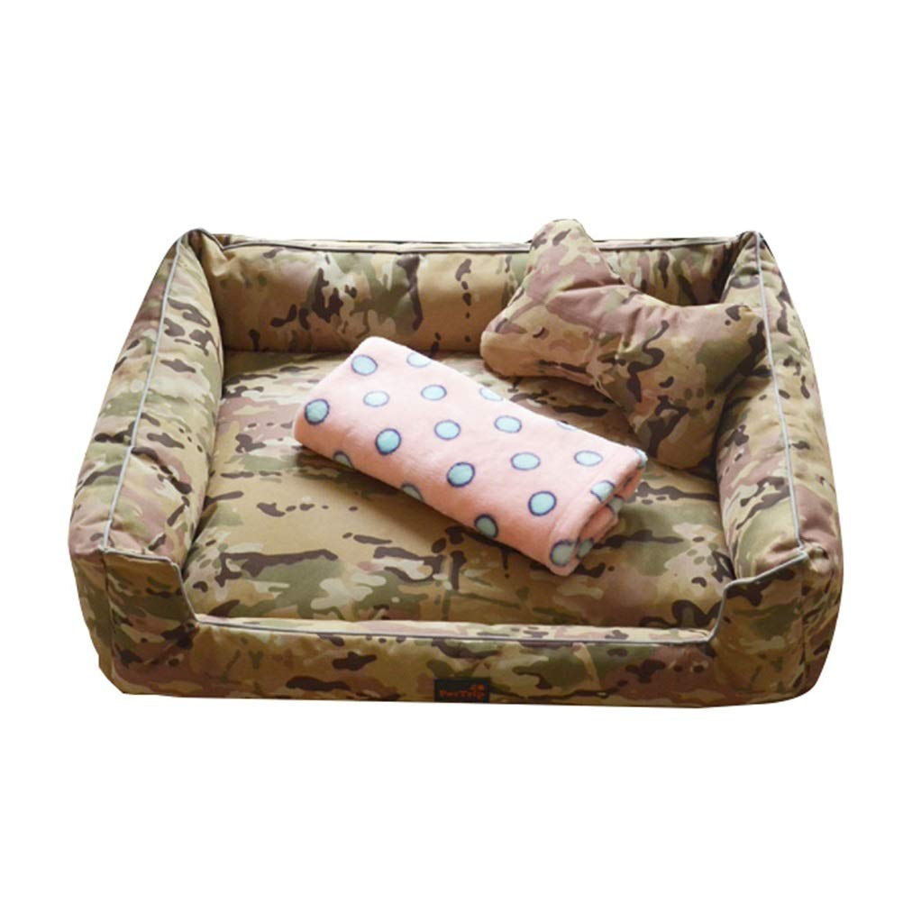 Green L Green L Soft and Comfortable Dog Bed, Pet Bed Removable and Washable Four Seasons Dog House Cat Toilet Large Dog Bed Small Dog Autumn and Winter Washable Washable (not Sticky) (color   Green, Size   L)