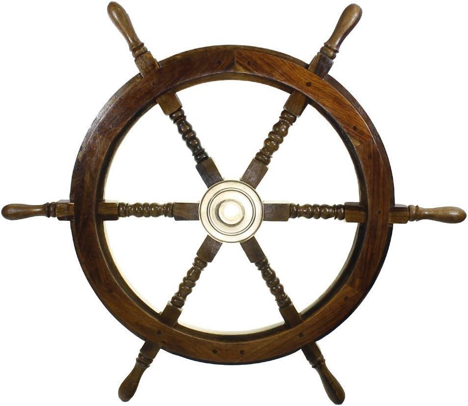 RedSkyTrader 30-Inch Ship Wheel Wall Decor, Pirate Boat Nautical Fishing