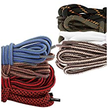 (8 PACK PAIRS) DailyShoes Round Hiking Shoelaces, Strong Durable, Lassitude Nash