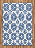 Vintage Area Rug by Ambesonne, French Country Style Floral Circular Pattern Lace Ornamental Snowflake Design Print, Flat Woven Accent Rug for Living Room Bedroom Dining Room, 5.2 x 7.5 FT, Blue White