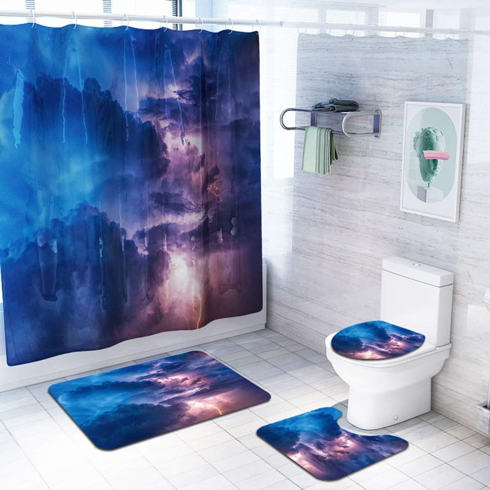 ETH Lightning Thundercloud Pattern Shower Curtain Floor Mat Bathroom Toilet Seat Four-Piece Carpet Water Absorption Does Not Fade Versatile Comfortable Bathroom Mat Can Be Machine Washed Durable by ETH