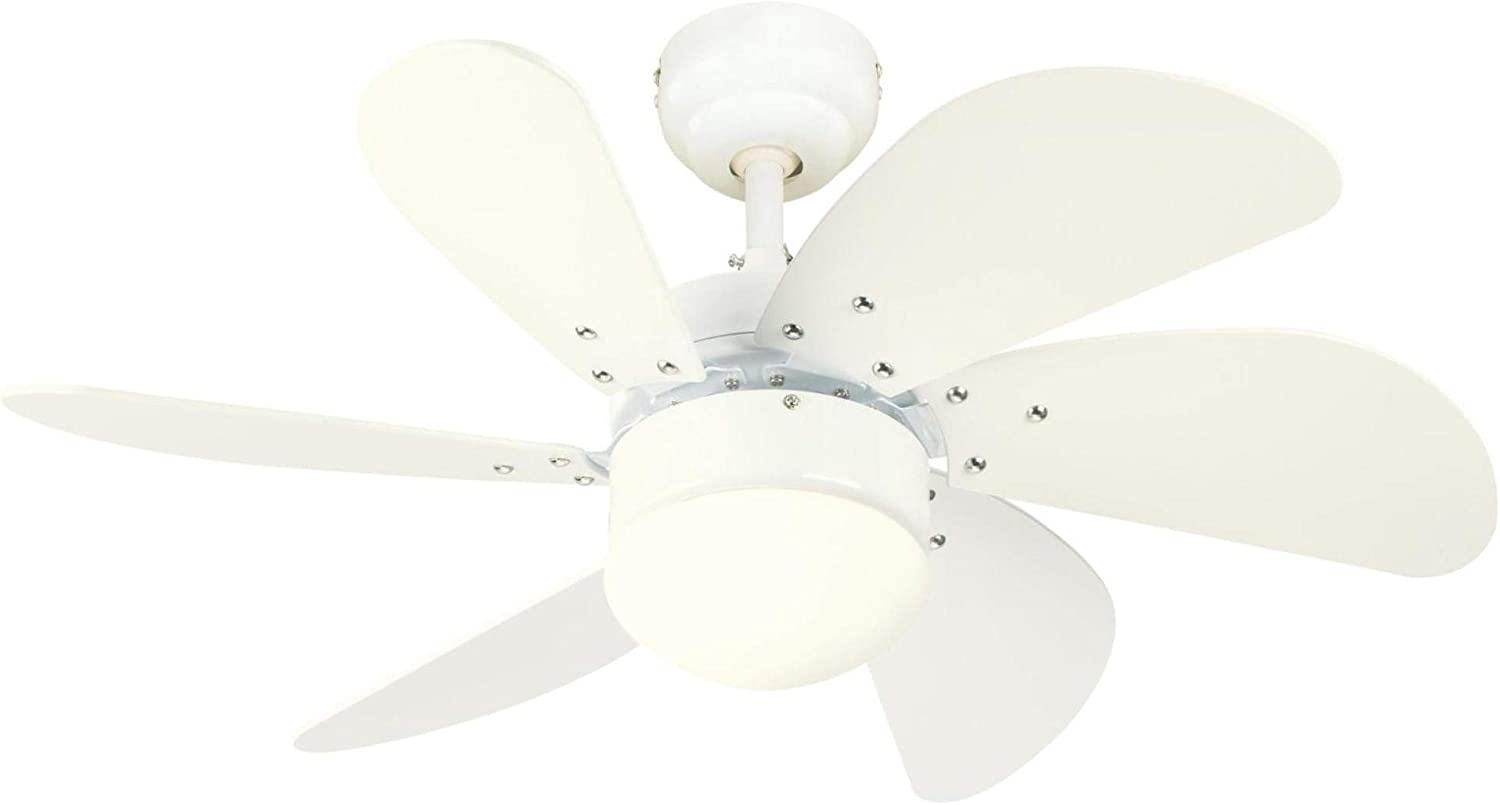 Westinghouse Lighting 7234400 Turbo Swirl Indoor Ceiling Fan with Light, 30 Inch, White
