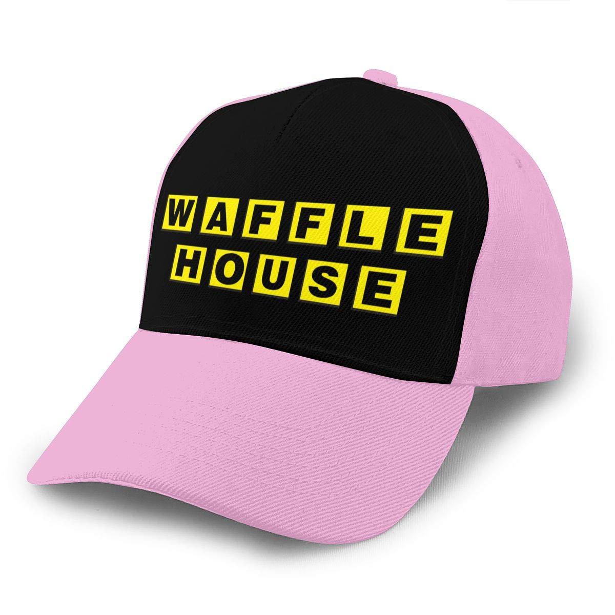 Adjustable Women Men Waffle-House-Logo Print Baseball Cap Flat Brim Cap Hats Hip Hop Snapback Sun Hat Boys Girls Pink by Apolonia