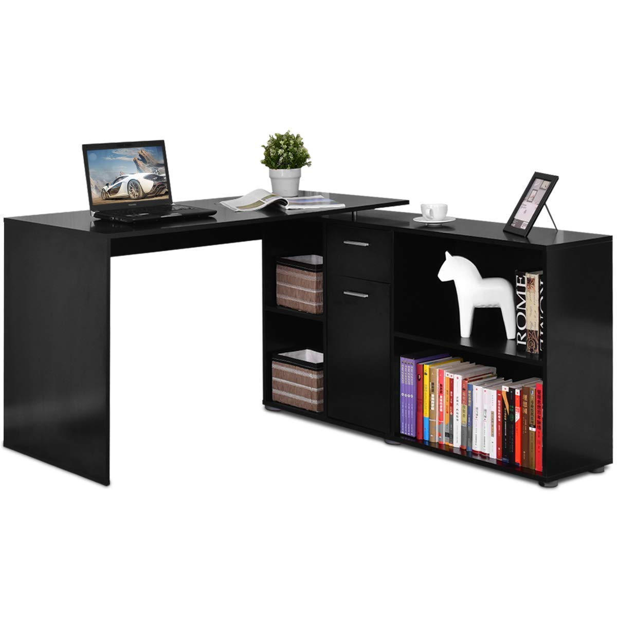 Tangkula L Shaped Desk Corner Desk, Home Office Wood Computer Workstation, Space Saving Computer Desk with Spacious Wooden Surface, Storage Shelves