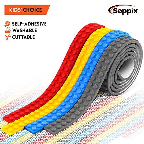 Building Block Tape, Compatible with DUPLO & Lego Bricks, KRE-O, Mega Bloks, Self Adhesive Block Tape Rolls for Kids: Cut, Peel, Stick – Fun pack of 4 Rolls (4 Rolls)