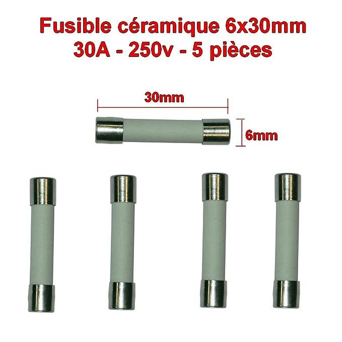 5x lot Fusibles céramique 6x30mm fusion rapide - 30A - 250v - 81fus138