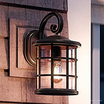 """Luxury Craftsman Outdoor Wall Light, Medium Size: 14.25""""H x 8""""W, with Tudor Style Elements, Wrought Iron Design, Oil Rubbed Parisian Bronze Finish and Seeded Glass, UQL1043 by Urban Ambiance"""