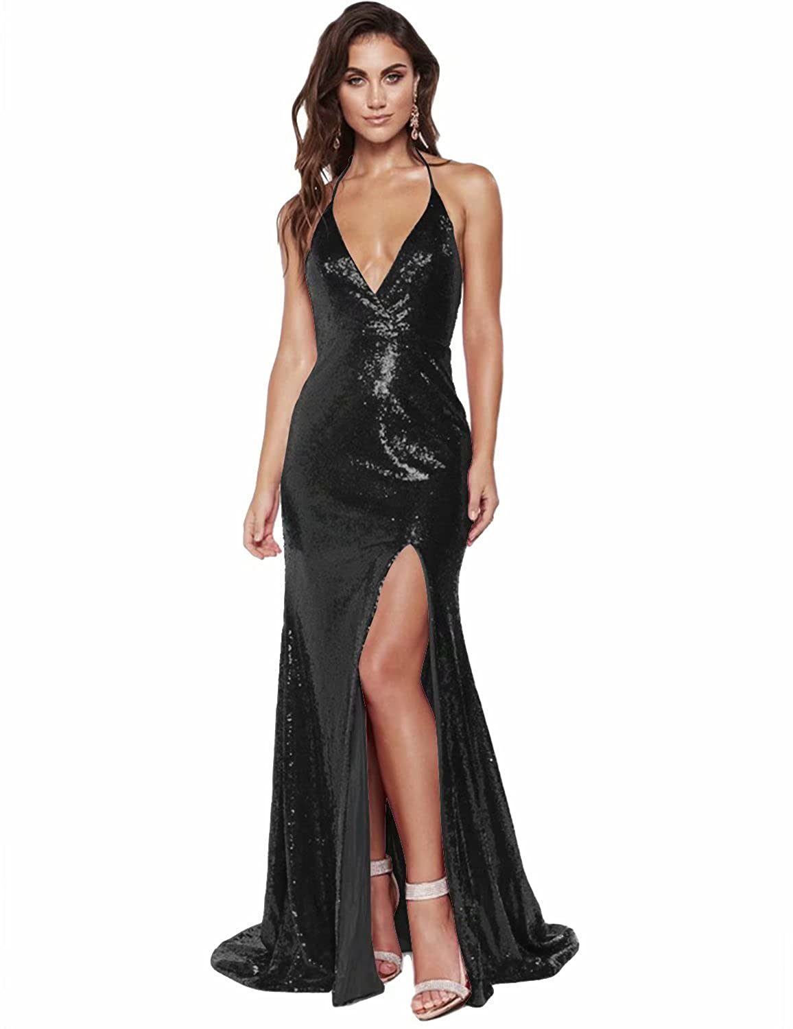 42e36d193f MonaBridal 2018 Sexy Long Party Dress Deep V Neck High Slit Shiny ...