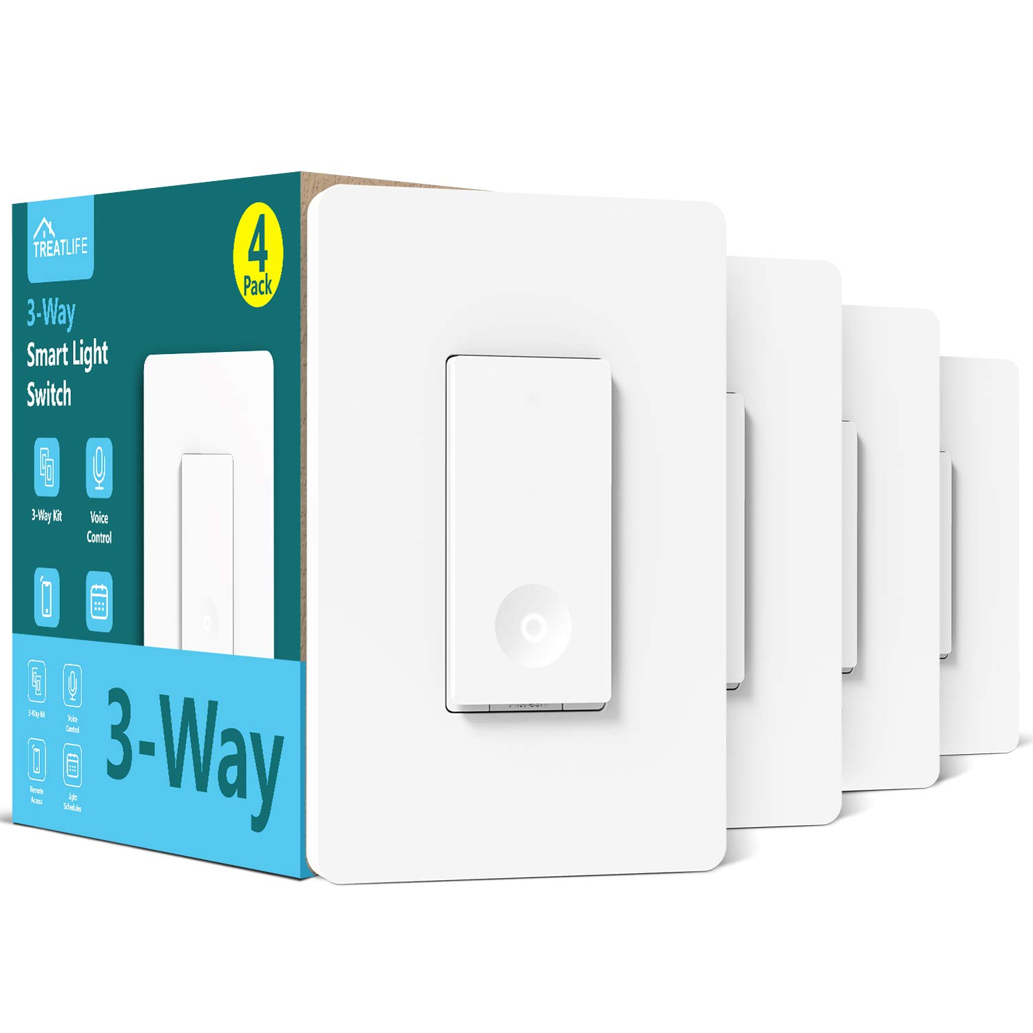 3-way Smart Light Switch,Neutral Wire Required,Treatlife WiFi Light Switch Single Pole/3-way Switch Works With Alexa, Google Assistant, Remote Control, ETL, Schedule, No Hub Required, 4 PACK