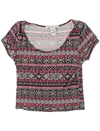 American Rag Girls Juniors Tribal-Print Short Sleeves Pullover Top