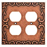 Franklin Brass W35076-CPS-C Classic Lace Double Duplex Wall Plate/Switch Plate/Cover, Sponged Copper