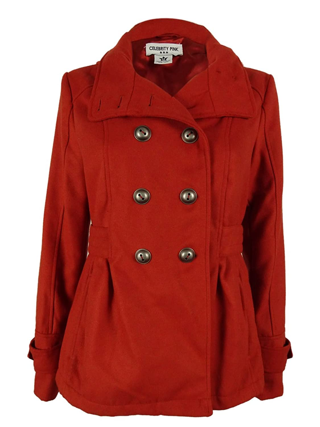 Amazon.com: Celebrity Pink Women's Hooded Double Breasted Peacoat ...