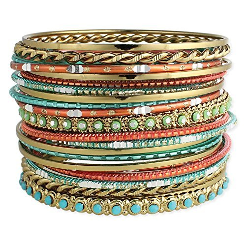 Set of 22 Golden, Turquoise & Coral Bangle Bracelets