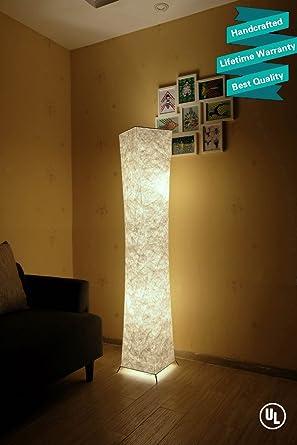 LEONC Design 61\'\' Creative LED Floor Lamp, Softlighting Minimalist Modern  Contemporary with Fabric Shade & 2 Bulbs Floor Lamps for Living Room  Bedroom ...