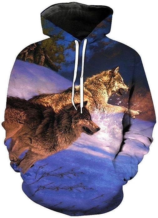 Sudadera con Capucha Hombre Mujer Lobo Sudaderas Imprimir 3D Capucha Animal con Mode De Marca Wolf Sudadera con Capucha para Hombre Hip Hop Unisex Manga ...