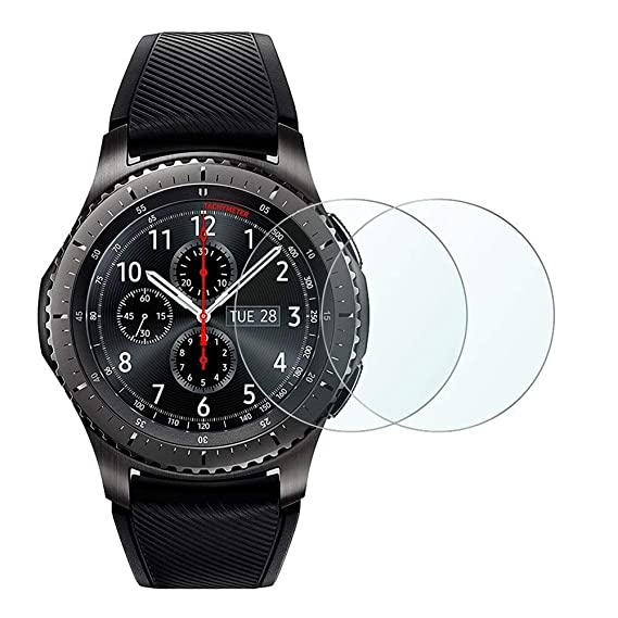 Digit.Tail Tempered Glass Screen Protector Cover Film [Anti-Glare 9H-Hardness] Accessories for Samsung Gear S3 Frontier/Classic Smartwatch (2-Pack)