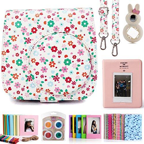 CAIUL Compatible Mini 8 8+ 9 Camera Case Accessories Bundle Kit for Fujifilm Instax Mini 8 8+ 9, Floral (7 Items)