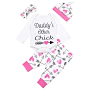4Pcs Newborn Baby Girl Clothes Daddy Other Chick Romper+Love Arrow Pants+Headband+Hat Winter Bodysuit Outfits Set (3-6 Months)