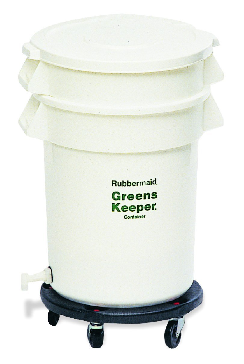 Rubbermaid Commercial Greens Keeper Food Container with Lid and Dolly, 32 Gallon, White, FG263600WHT