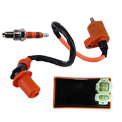 New High Performance Racing 6 Pins AC CDI Box + Ignition Coil + Spark Plug for Gy6 150cc 125cc 50cc Scooter Moped ATV Go Karts: Automotive