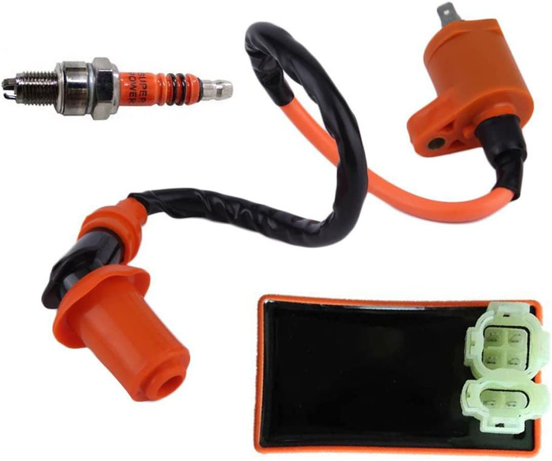 New High Performance Racing 6 Pins AC CDI Box + Ignition Coil + Spark Plug for Gy6 150cc 125cc 50cc Scooter Moped ATV Go Karts