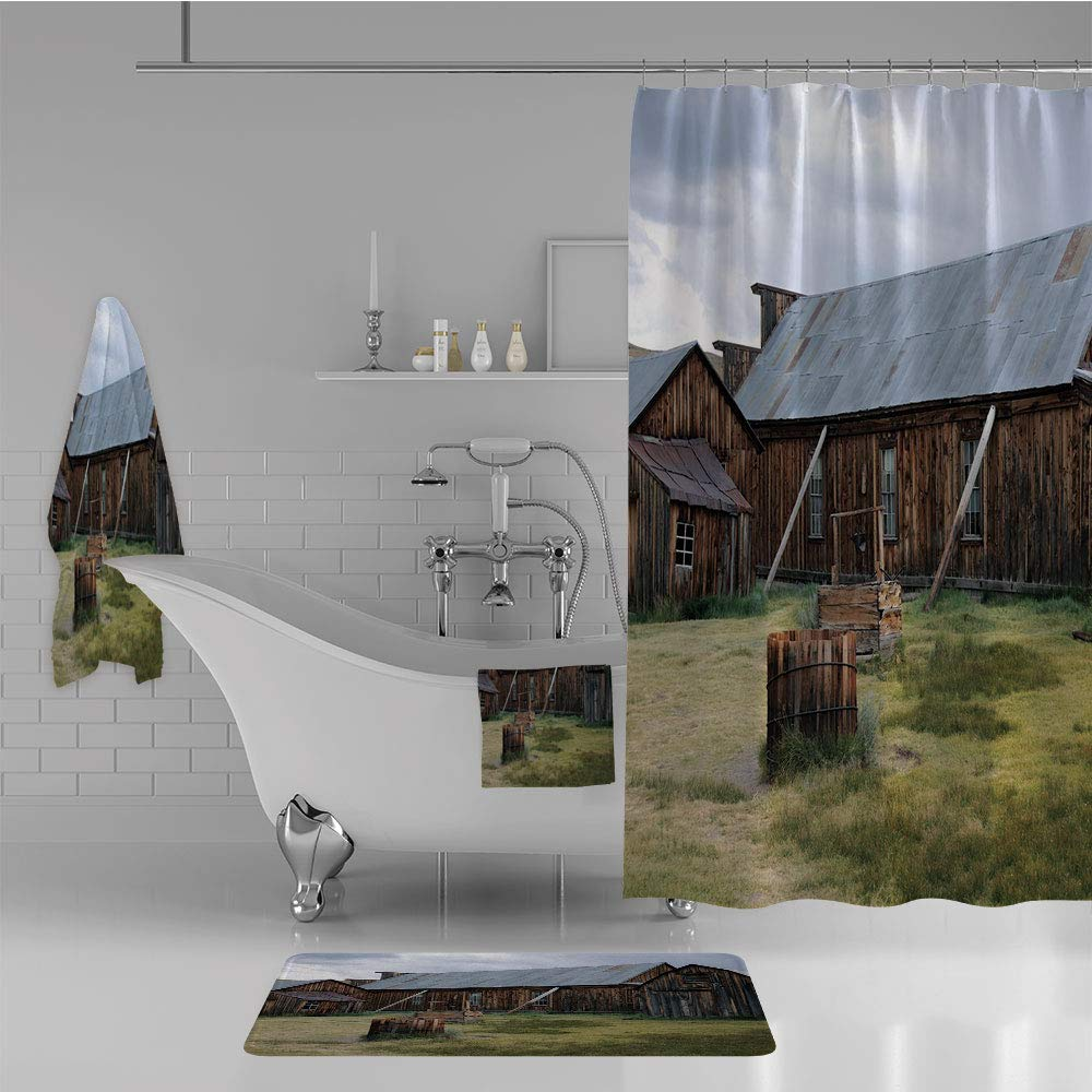 iPrint Bathroom 4 Piece Set Shower Curtain Floor mat Bath Towel 3D Print,Barn of A Country House American Rural View,Fashion Personality Customization adds Color to Your Bathroom.