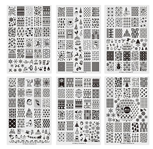 6pcs/Pack Xmas Snowflake Acrylic Nail Stamping Plates Clear Templates Stamp Assorted Christmas Designs Manicure Tool Lightweight