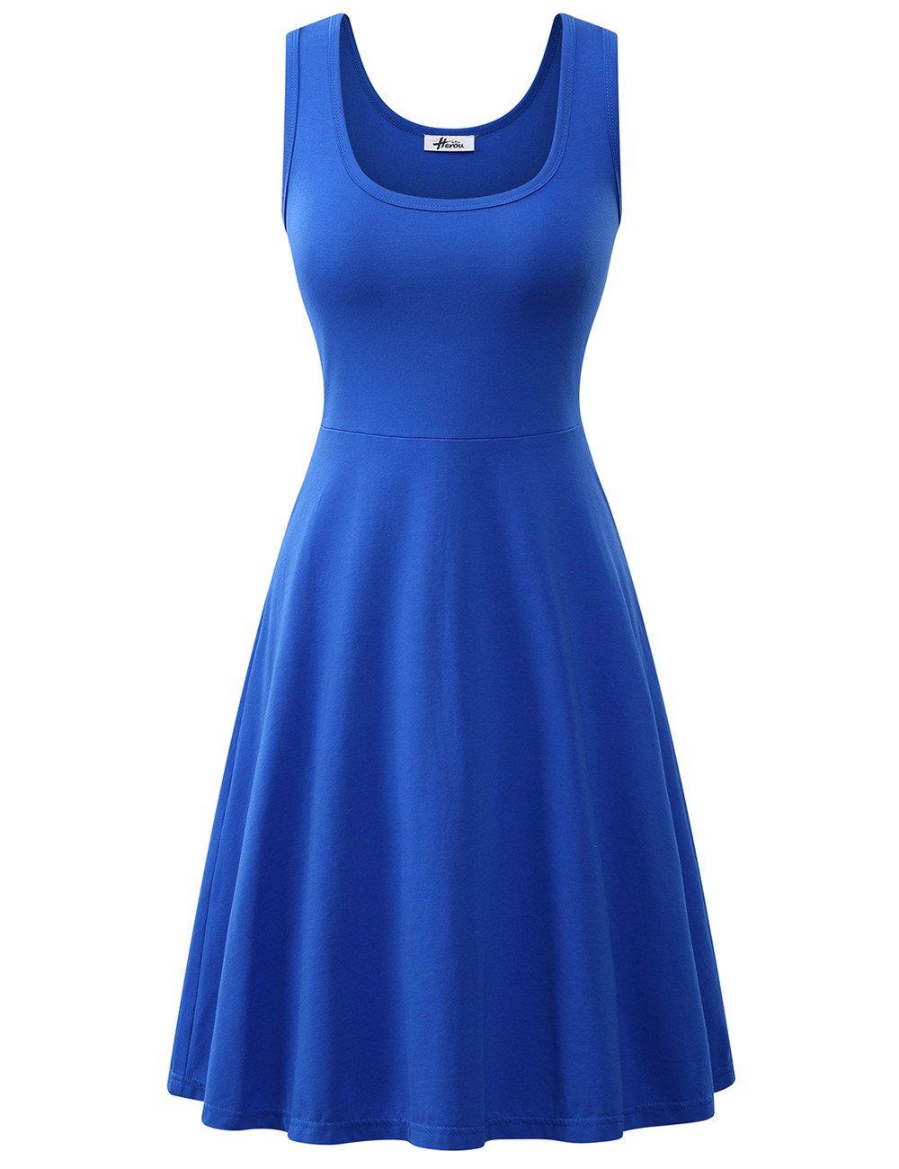 Herou Women Summer Beach Cotton Tank Dress(Large,Royal Blue)