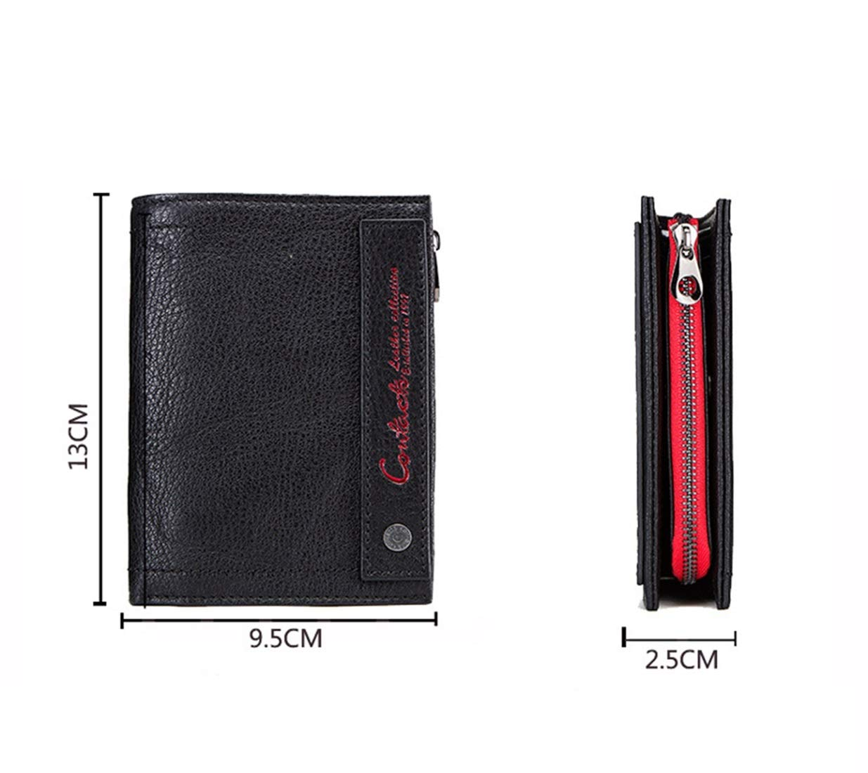 Color : Black//red KRPENRIO Leather Wallet Activity Purse Mens Wallet Leather Tri-Fold Clutch