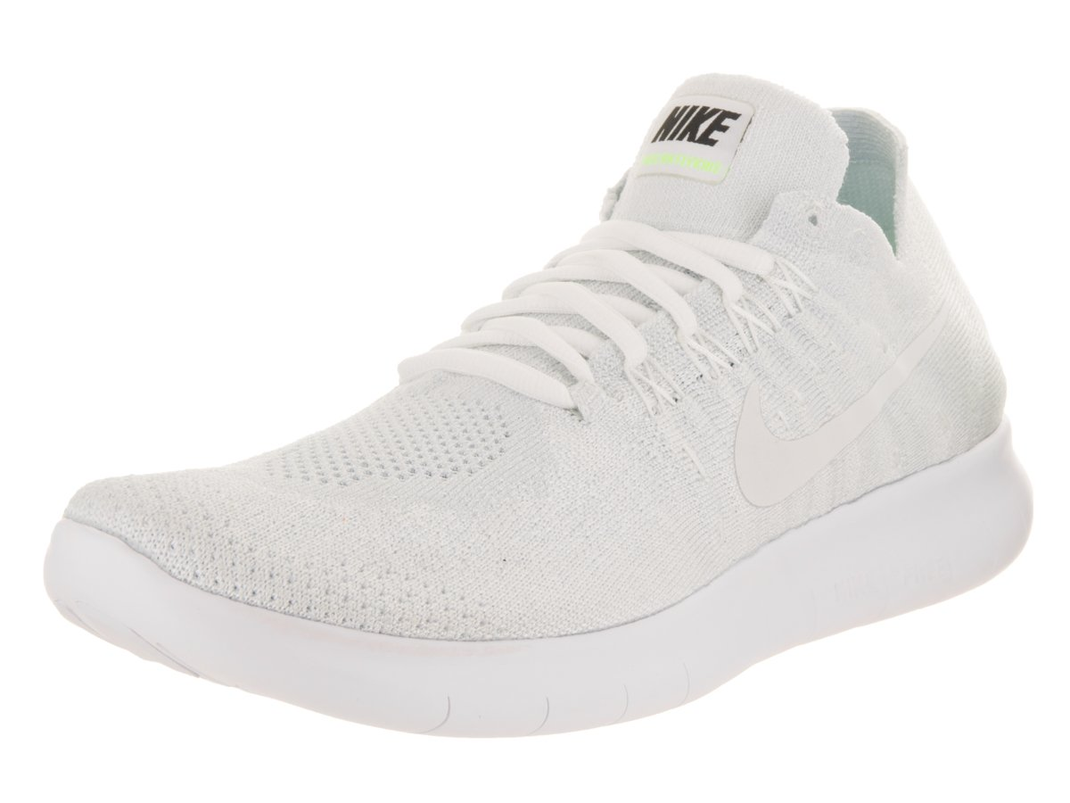 Nike Women's Free RN Flyknit 2017 White/White Pure Platinum Running Shoe 10 Women US by NIKE