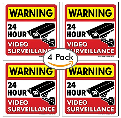 (Set of 4) 24 HR Video Surveillance Sign - 6 x 6 - 4 Mil Vinyl - LAMINATED For Ultimate Protection & Durability - Self Adhesive Decal - UV Protected & Weatherproof - Heavy Duty