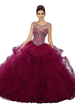 1f633567e77b Fannydress 2019 Sheer Cap Sleeve Quinceanera Dresses with Ruffles  Rhinestone Beaded Sequin Prom Dress 8th Grade at Amazon Women's Clothing  store: