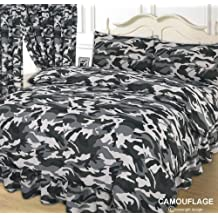 Double Bed Duvet / Quilt Cover Bedding Set, Camouflage Army, Black / Grey / White by NTT